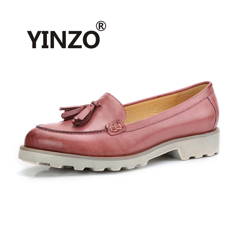 New 2018 vintage single shoe Bullock shoes Ladies Moccasins genuine leather sheepskin tassel slip on Loafers