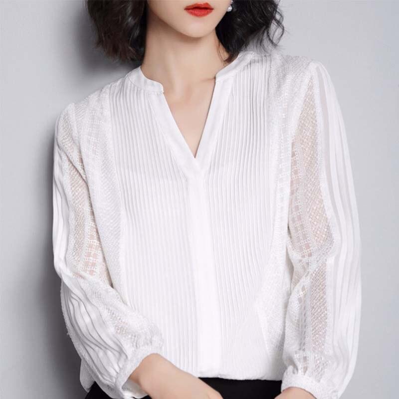 G495017 Frauen Bluse Spitze Shirt Weibliche Lange sleeved Frühling V ausschnitt Temperament Bluse Hemd Solide Kausal Tops