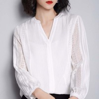 G495017 Women Blouse Lace Shirt Female Long sleeved Spring V neck Temperament Blouse Shirt Solid Causal Tops