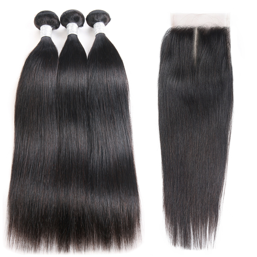 Straight Hair Bundles With Closure Middle Part Brazilian Hair Weave Bundles With Closure 3 Bundles With