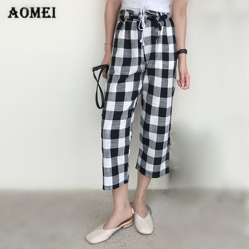 Women Checkerboard Black And White Plaid Pants With Sashes