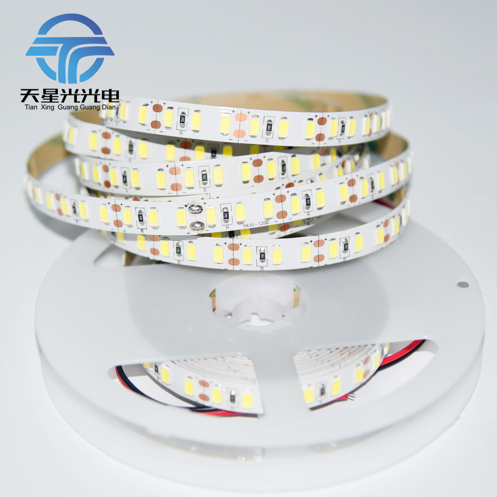 Korean imported chip Super Bright 120leds/m 5m DC12V SMD5630 Non-Waterproof flexible LED strip brighter Than 5050,2835