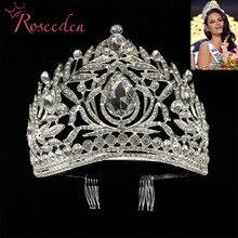 ملكة جمال الكون الفلبين تيجان كلاسيكي فضي اللون حجر الراين التيجان RE998