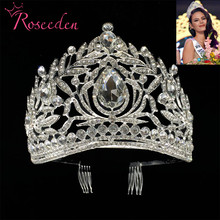 Miss Universe Philippines Crown Tiara Classic Silver Color Rhinestone Wedding Bridal Tiara  Free Shipping RE998