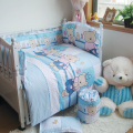 Lovely Bear 10pcs Baby Bedding Set,Baby Comforter Nursery Bedding for Boys,Blue Color Newborn Baby Bed Liners,Chichoneras Cuna