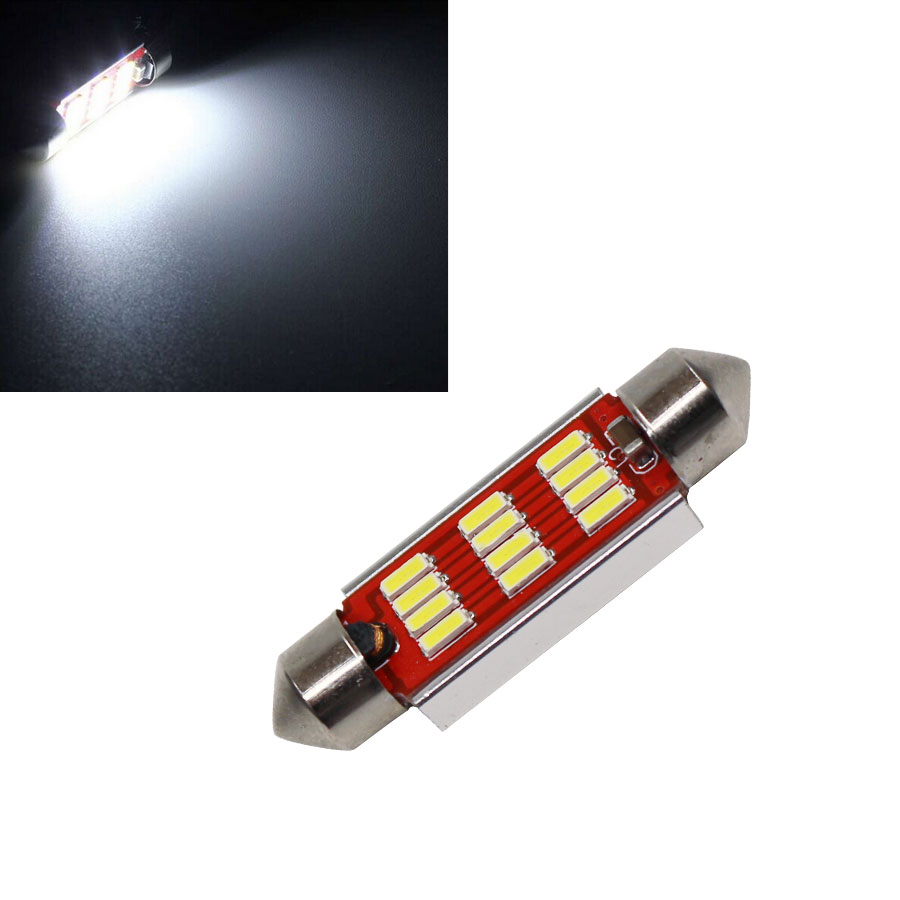 2PCS 4014 SMD 12 LED Light Canbus Error Free Interior Festoon Doom Lamp Bulb Pure White Size 36mm/39mm/42mm Wholesale 2016 New 10pcs super bright led lamp t10 w5w 194 6smd 4014 error free canbus interior bulb white for car dc 12v free shipping new
