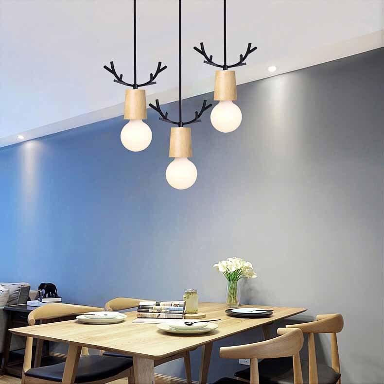 Nordic Antler Wood Pendant Lights Modern Northern American Art Decor Wrought Black Oak Pendant Lamp For Kids Dining Room Living (11)