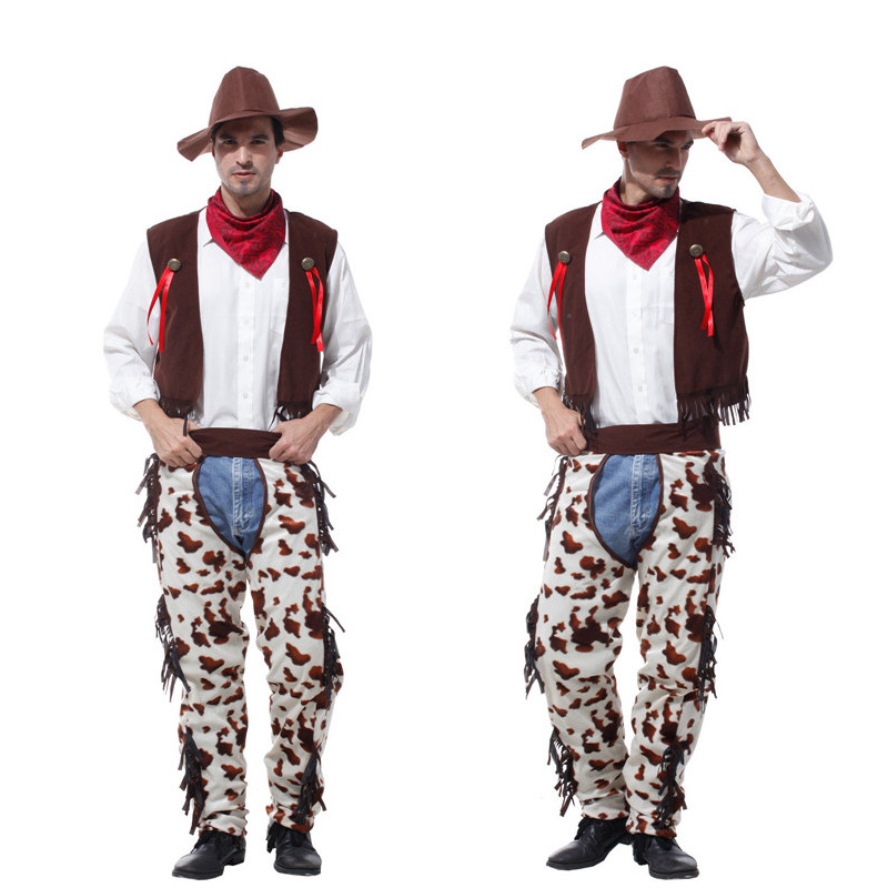 Halloween Cosplay Clothes Adult Men Stage Performance Costume Western Cowboy Outfit аксессуары для косплея cosplay