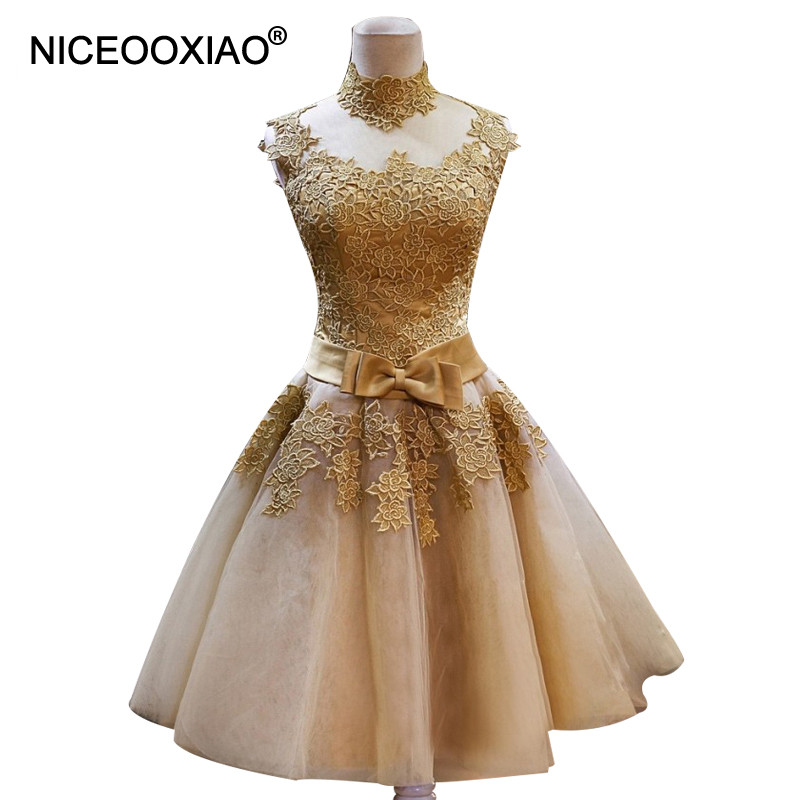 NICEOOXIAO Golden Robe De Soiree Short Lace Puffy Skirt Tulle Party Evening Dresses Formal Ball Gown Plus Size