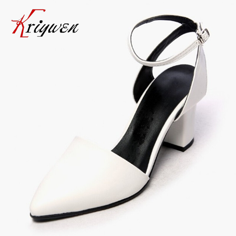 2016 Brand fashion women pumps genuine leather thick high heel Elegant women sexy pointed toe solid OL 100%Cow work ladies shoes hot sale new fashion luxury real leather women thick heel pumps flock mix color wedding shoes woman flock sexy elegant pumps