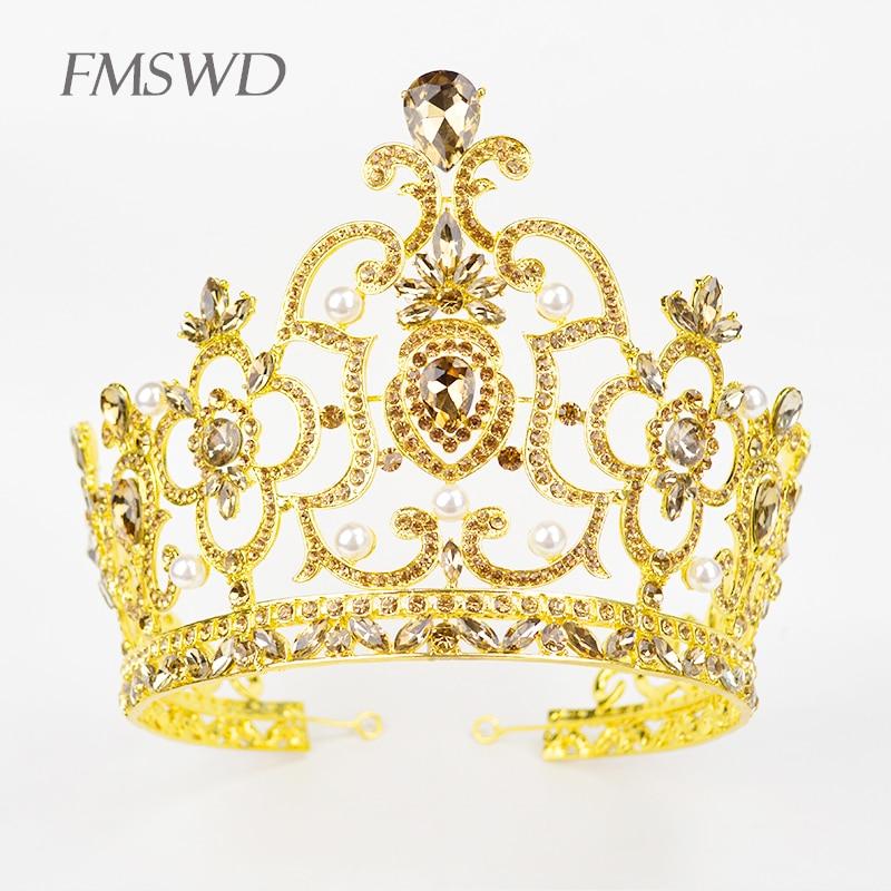 Vintage Gold Color Luxury Crystal Big Crown Rhinestone Tiara For Bride Wedding Lager Royal Crown Miss World Tiara Head Jewelry цена 2017