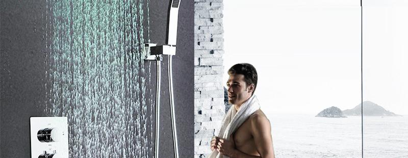 DCAN 10 Rainfall Shower Head System Polished Chrome Bath Wall Mounted Shower Faucet Bathroom Luxury Rain Mixer Shower Combo Set (2)