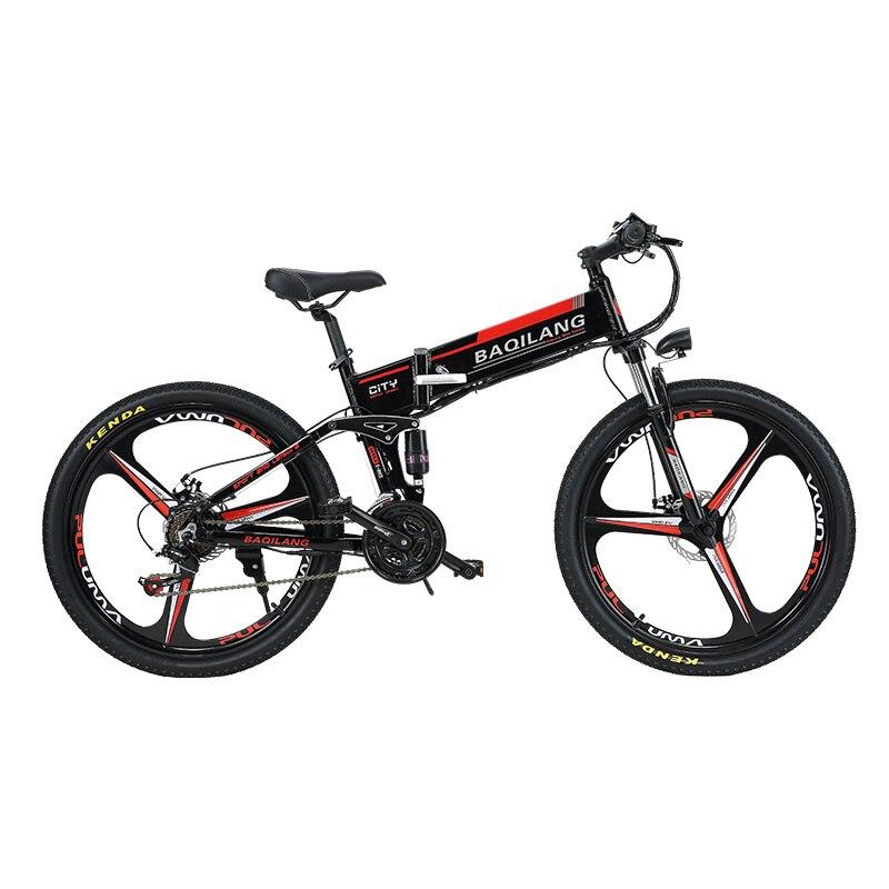 26 pouces pli vélo de montagne électrique suspension complète 48V350W hybride cadre de vélo électrique intégré batterie au lithium ville ebike