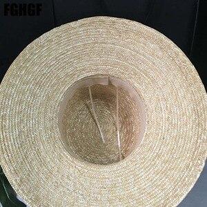 Image 5 - Natural Women Sun Hats Black Ribbon 9cm 13cm 15cm Flat Top Large Wide Brim Straw Hats Straw Hat Chapeu Sombrero Beach Hats