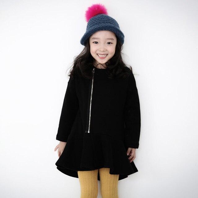 Для девочек осенне-зимнее платье для 3-12 лет Толстая Флисовая теплая детская одежда Рождественские Длинные рукава на молнии костюм 2017 детская одежда