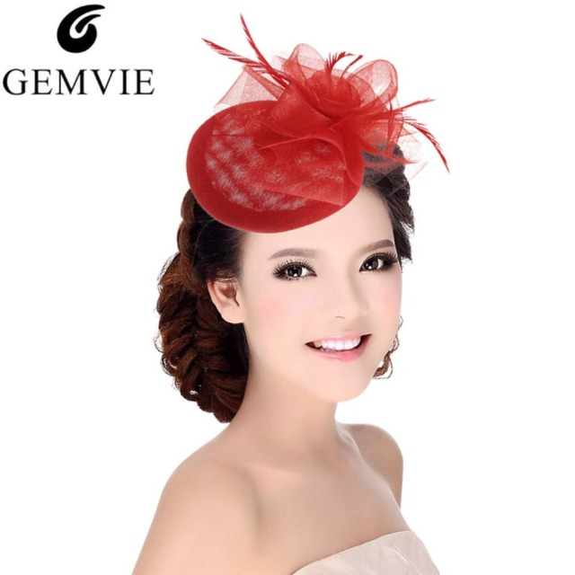 eecf4a159914f Ladies Royal Fascinators Wedding Races Sinamay Cocktail Feather Fascinator  Hat Women Hair Clip Headwear