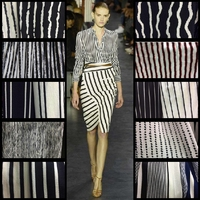 Paris Bead Seersucker The Spring and Summer Color Black and White Stripes of Stretch Chiffon Fabric Shirt Dress Printing Cloth