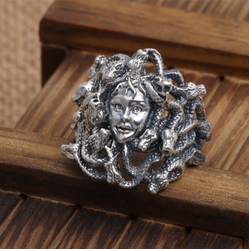 Gothic Thai Silver 925 Medusa Head Wide Rings For Men 100% 925 Sterling Silver Mens Jewelry Punk Style Thick Band Free Ring Box solid silver 925 vajra pendant charms for necklace men real 925 sterling silver jewelry gothic punk style thai silver bijoux men