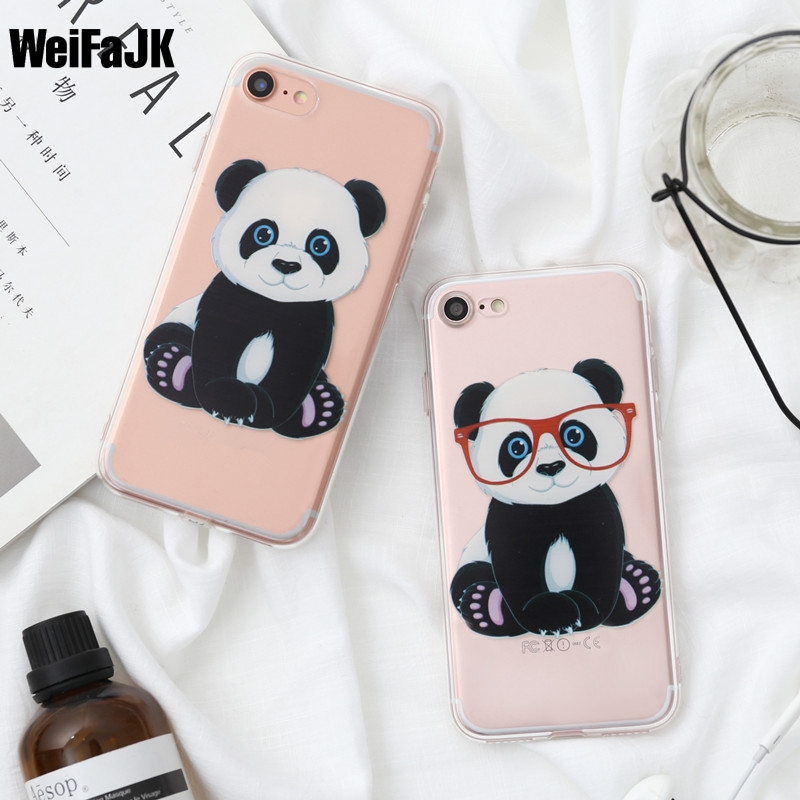 WeiFaJK Panda Flower TPU Soft Silicon Phone Case For Apple iPhone 5 5s Cases for iPhone 6 6s Plus Case For iPhone 7 8 Plus Cover