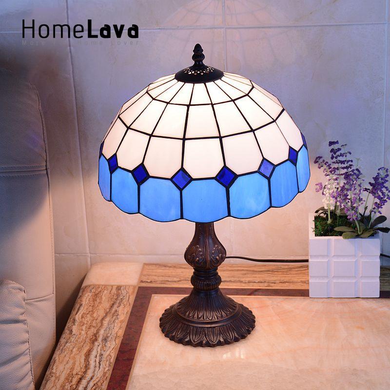 Lamparas Color Glass Led Table Lamp Hand Made Tiffany Desk: Black&White Home Art Decoration Romantic Mediterranean