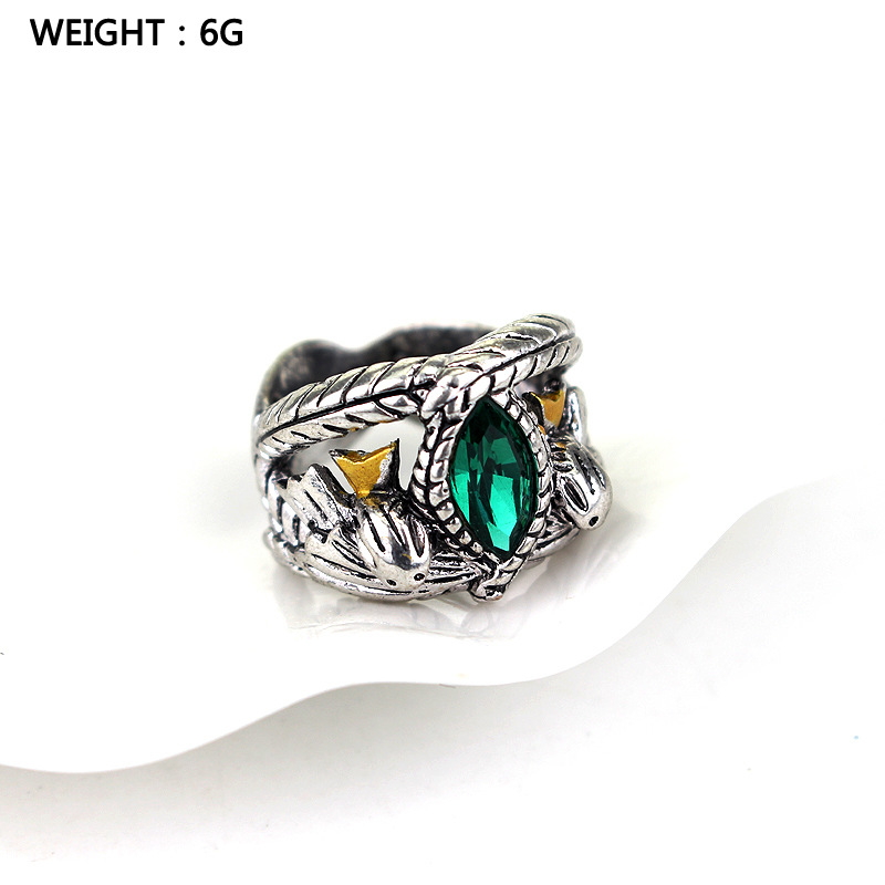 Lord Of The Aragorn 39 s Ring of Barahir Retro Antique Silver Green Crystal Rings For Women And Men Fashion Jewelry Accessories in Rings from Jewelry amp Accessories