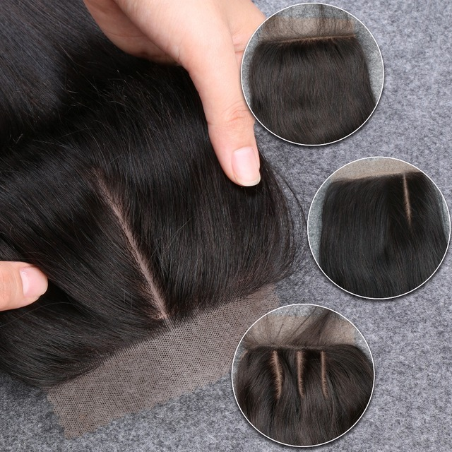 Silk Base Closure Straight Brazilian Virgin Human Hair Closure Silk Top Closures With Baby Hair 3 Middle Side Free Shipping