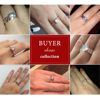 Crystal Silver Color Rings Leaf Engagement Gold Color Cubic Zircon Ring 2