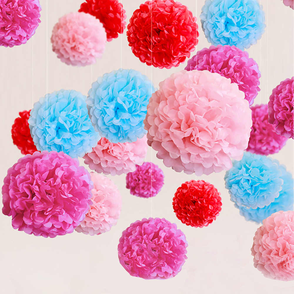 1pcs 4 6 8 10 12 Inch Pom Pom Tissue Paper Flower Balls For Wedding Party Decoration Diy Craft Paper Flowers Home Decor Supplies