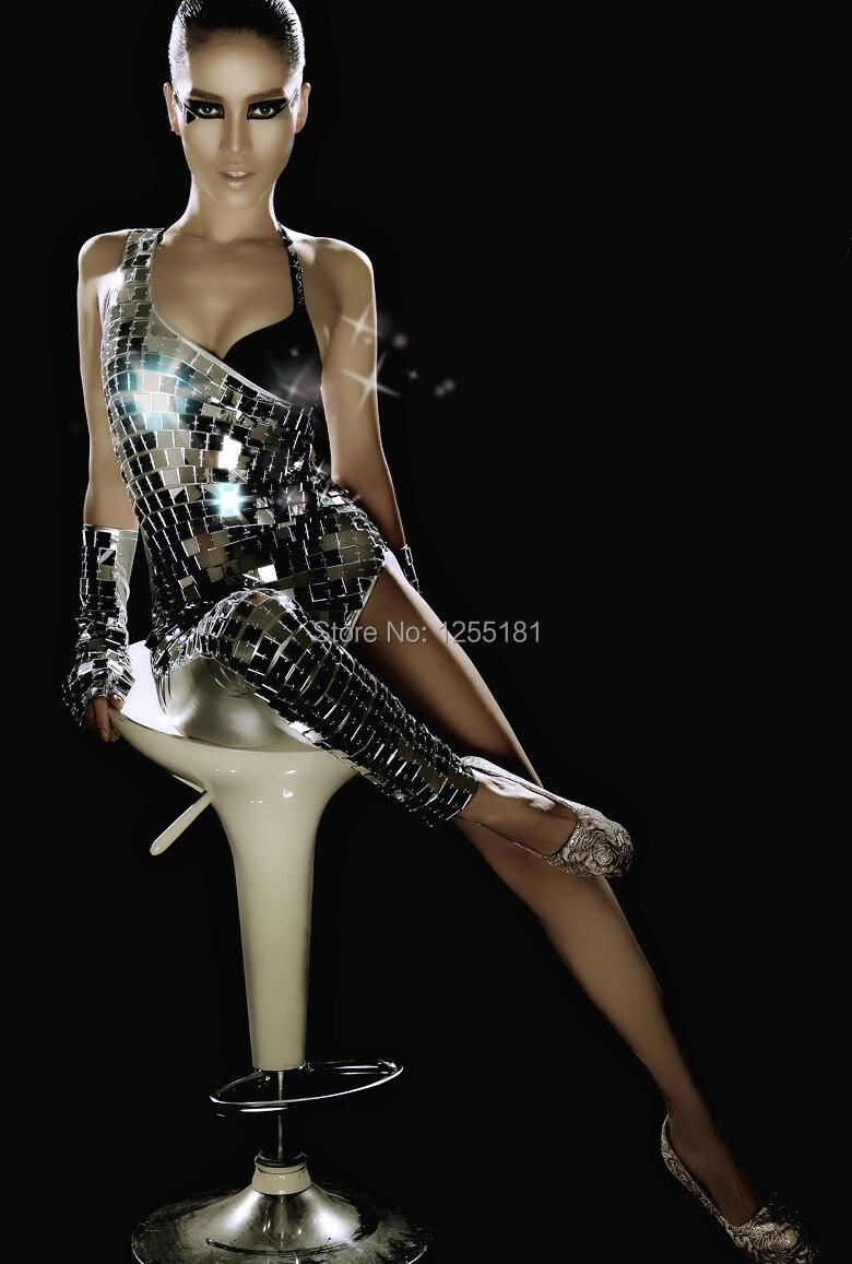 2015 women New fashioin mirror female nightclub bar ds lead dancer sexy sequins star costume stitching shrug womens leotard