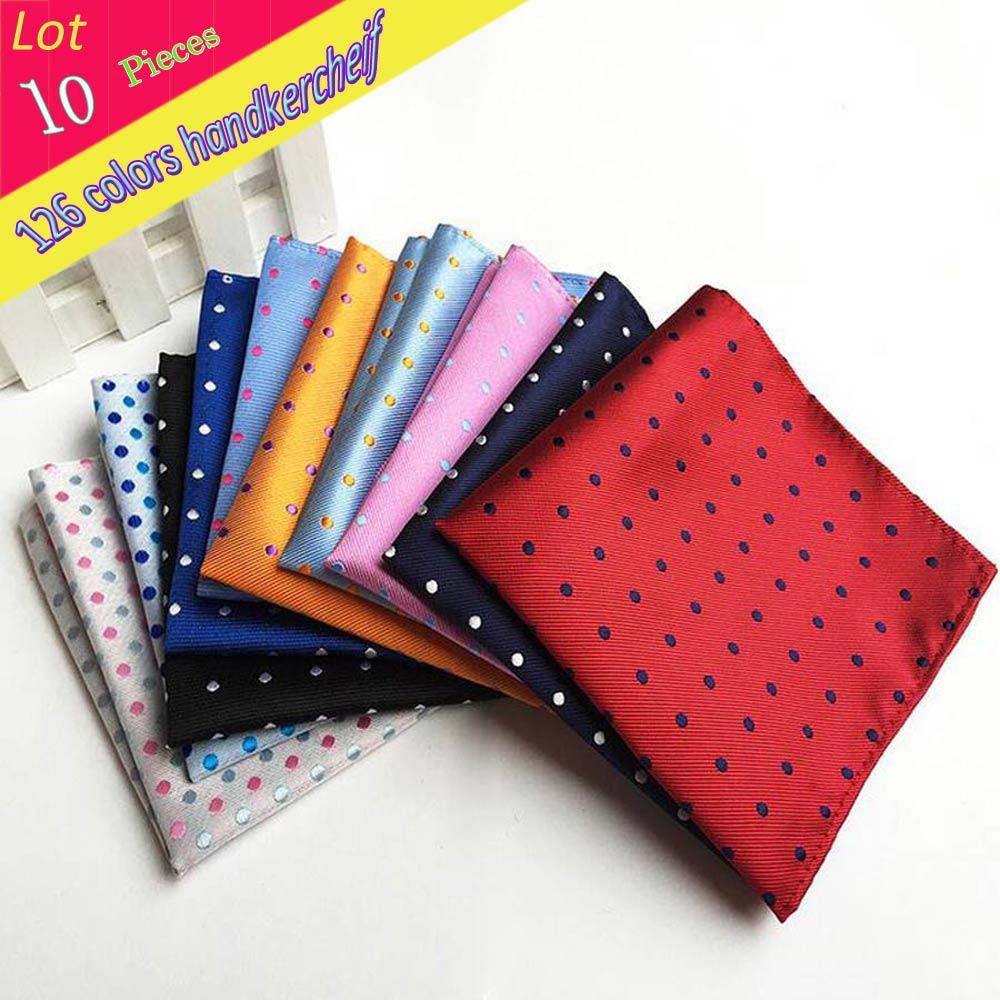 (10 Pcs/Lot)Factory Wholesale Men's 100% Silk Handkerchief Polka Dots Chest Towel Hanky Wedding Banquet Christmas Pocket Square
