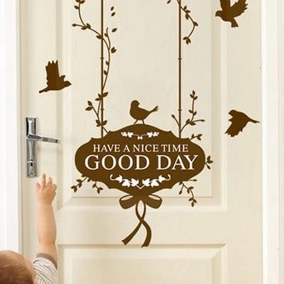 stickers muraux decoratifs en pvc transparent good day anglais stickers muraux pour porte salon chambre et couloir autocollants muraux