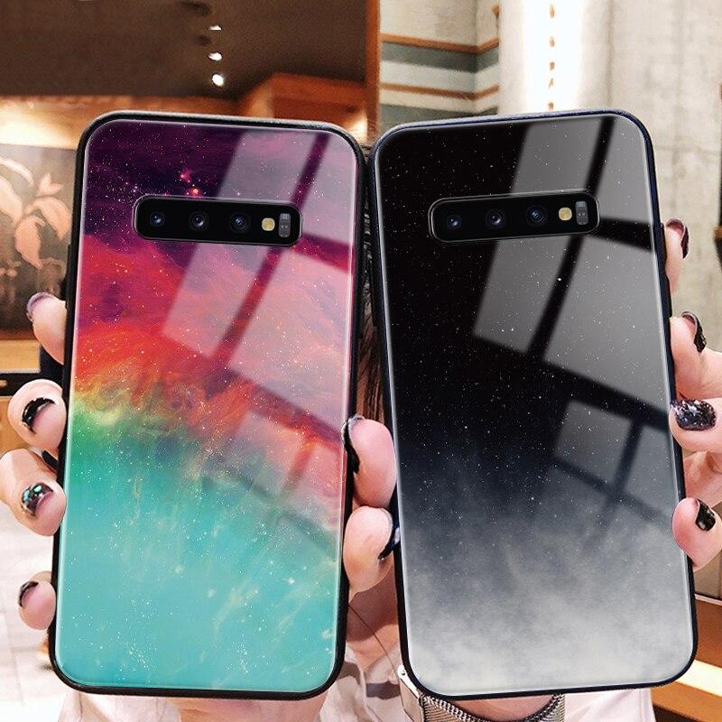 Gehärtetem Glas Telefon Fall Für Samsung Galaxy A30 A50 S7 Rand S8 S9 S10 Plus A6 A8 Plus A7 A9 2018 hinweis 8 9 Wolke Bunte Abdeckung