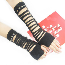Black Sexy string ribbon gothic punk lady Disco dance costume party lace finger fishnet mesh long gloves arm warmerfree shipping