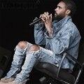 Moda hi-rua mens hip hop jeans rasgado destruído calça jeans com zíperes com furos no joelho denim angustiado corredores q1769