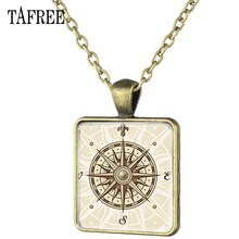 TAFREE Square Pendant Necklace New Attractive Simple Glass Cabochon Dome Handmade Art Pattern Keepsake Gift Jewelry CP53(China)