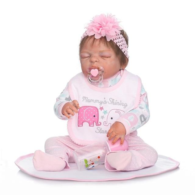 55 Cm Volle Körper Silikon Reborn Schlafende Mädchen Baby Puppe