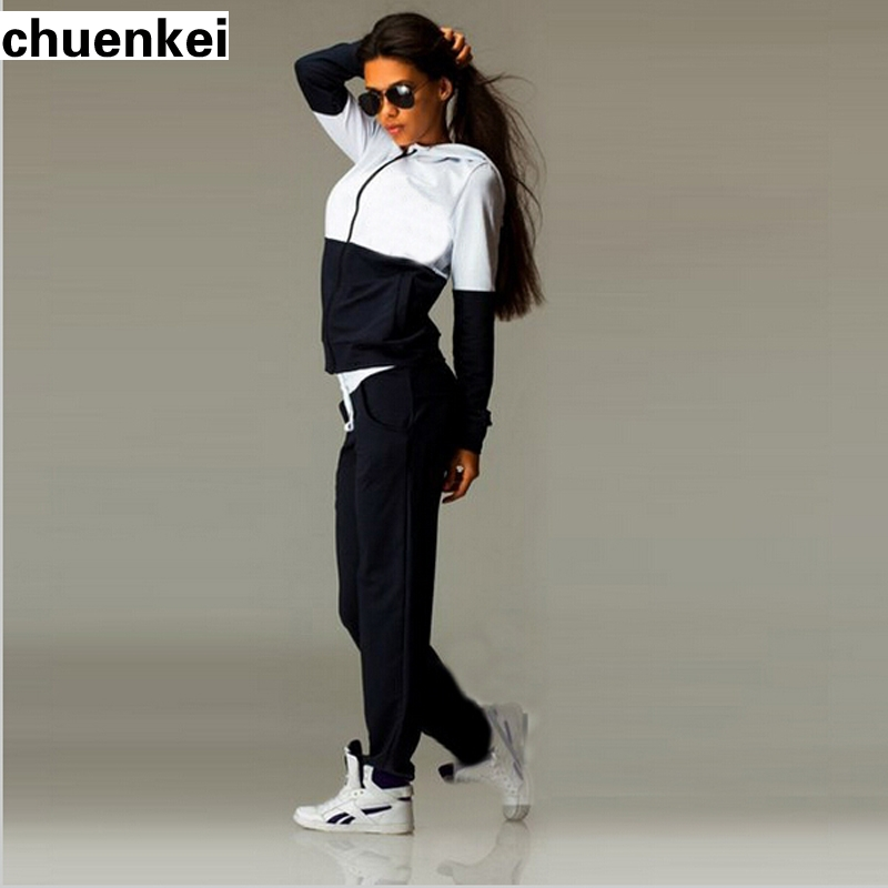 2017 Womens Sports Suits Zipper Tracksuit Hoodie Tumblr -2083