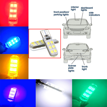 10 pieces. Car LED T10 w5w LED diode lamp 194 w5w Canbus 6SMD 5730 T10 silicone LED light without errors brake light, tail light image