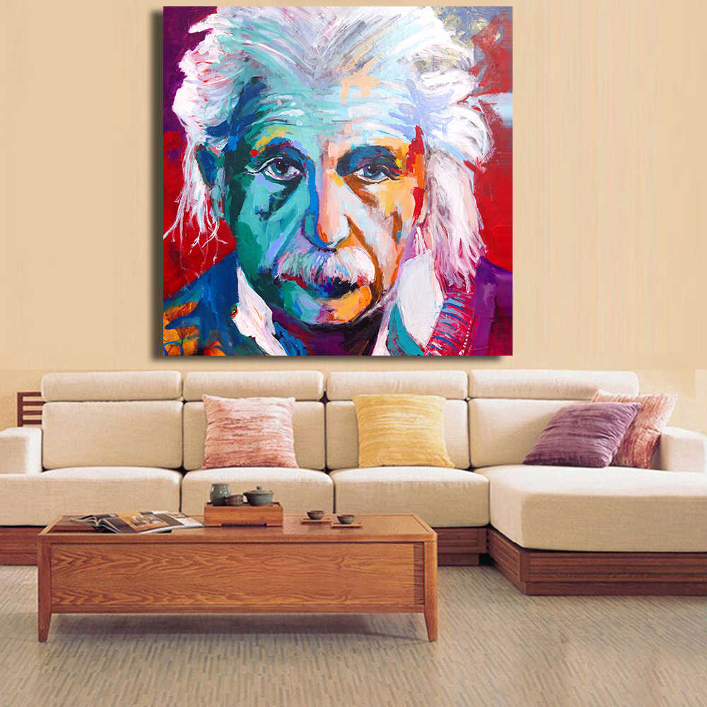 Imagen de HDARTISAN Albert Einstein retrato abstracto arte Pop en lienzo impresión o imagen de la sala de estar arte de la pared sin marco