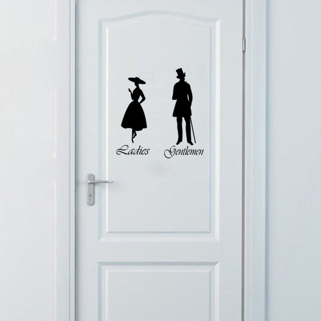 Gentlemen Las Toilet Wc Bathroom Door Sign Vinyl Wall Stickers Home Decor Art Decals