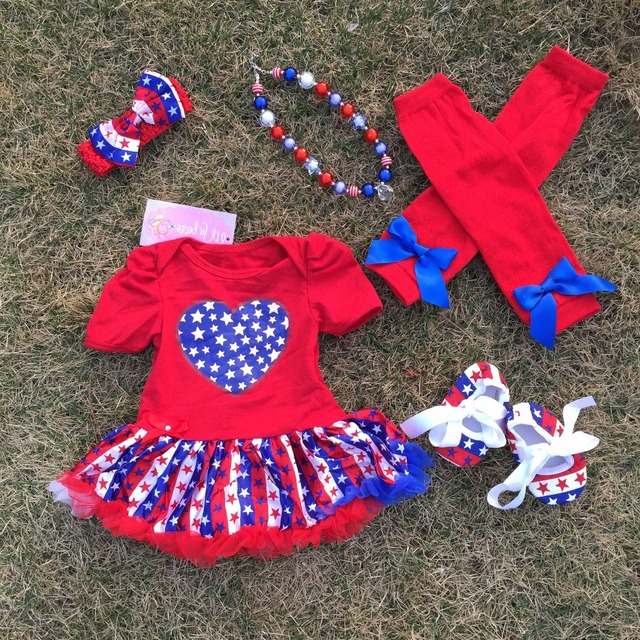 456b6dc98413 2018 hot baby Kids 4th of July Patriotic petticoat May Memorial day outfits  with accessories baby girl fourth of july outfits
