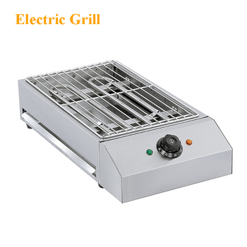110v 220v commercial electric griddle stainless steel flat plate 1pcs oven bbq grill for restaurant cake shop free shipping Commercial Household Desktop Electric Grill Stainless Steel Electric Grill Smokeless Electric Grill EB-280 220V