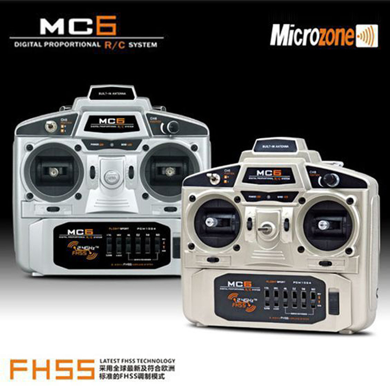 2.4Ghz 6CH MC6 Radio control transmitter and receiver for RC model airplane mode 1 and mode 2 optional