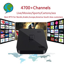 S905 4 K Android 5.1 TV box con 4700 Canales Nórdico, Árabe, Europa, América Del Sur de Asia Gift Set Top Box de IPTV con Adultos
