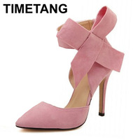 TIMETANG 2017 Fashion Plus Size 41 Butterfly Pointed Toe Velvet High Heel Shoes Single Shoes Women