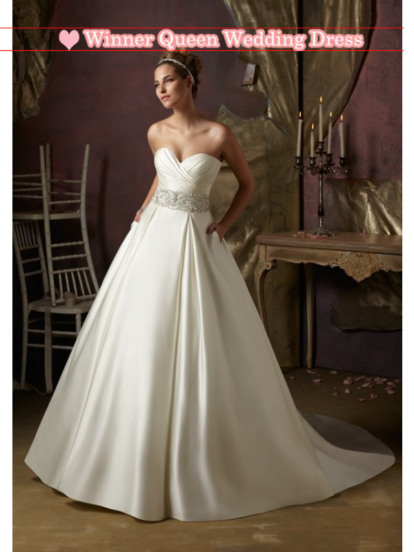 Plain And A Line Sweetheart Neckline Tiny Beads Sash On Ivory Color Satin Zipper Back With Buttons Wedding Dress 2013 Jj0204 In Dresses From