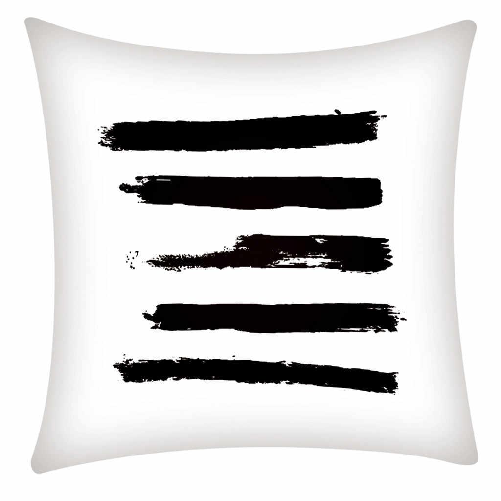 Memberkati Hidup Modern Marmer Bantal Case Penutup Rumah Abstrak Tekstur Sarung Bantal untuk Tempat Tidur Hitam Putih Z0522 # G30