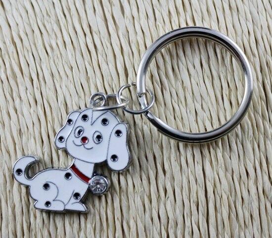 Hot Sale Vintage Silver Enamel Pet Dog Charm Keychain Ring For Keys Car Key Ring Souvenir Gifts Couple Handbag Accessories Z165