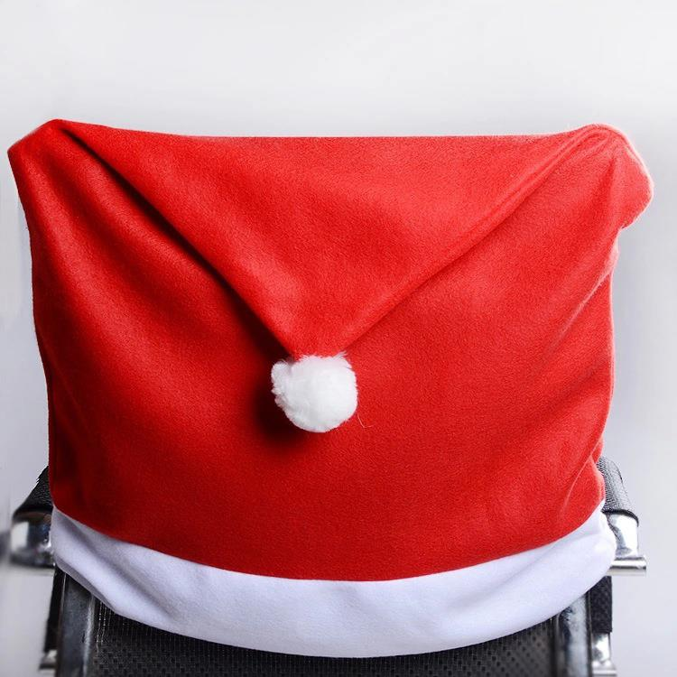 1PC Lovely Santa Claus Red Hat Christmas Dining Room Chair Cover