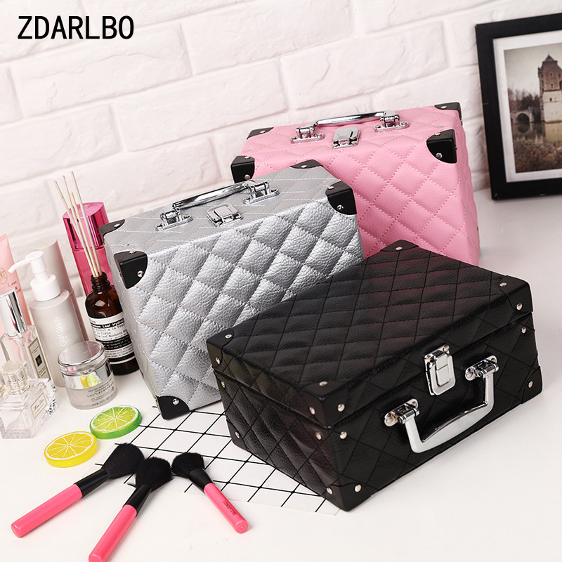 High Quality Women Cosmetic Case Plaid Make Up Bag Female Toiletry Suitcase Travel Makeup Tools Storage Box Beautician Organizer